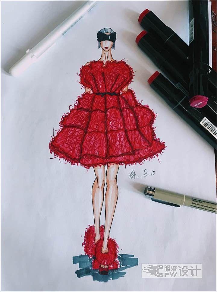 皮草礼服作品-皮草礼服款式图