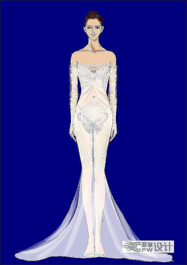 婚纱设计稿系作品-婚纱设计稿系款式图