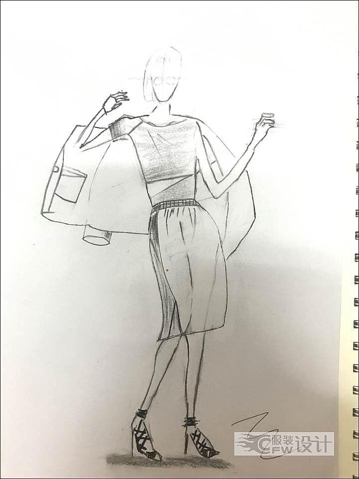 服装效果图手绘作品-服装效果图手绘款式图