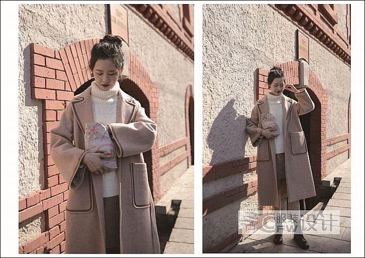 织带装饰边尼大衣作品-织带装饰边尼大衣款式图