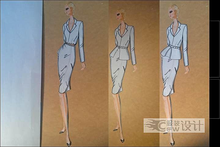 三穿西服套装和灰色晚礼服连衣裙作品-三穿西服套装和灰色晚礼服连衣裙款式图