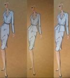 三穿西服套装和灰色晚礼服连衣裙