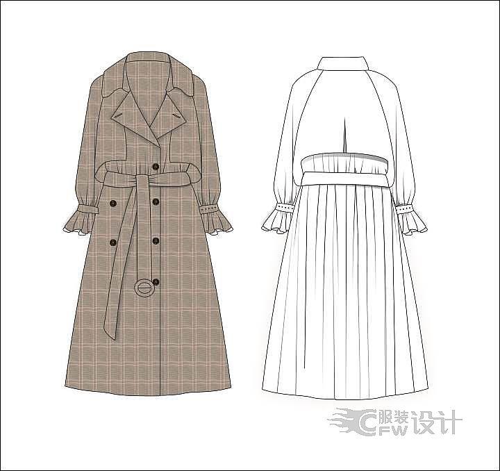 风衣外套 刺绣卫衣裙作品-风衣外套 刺绣卫衣裙款式图