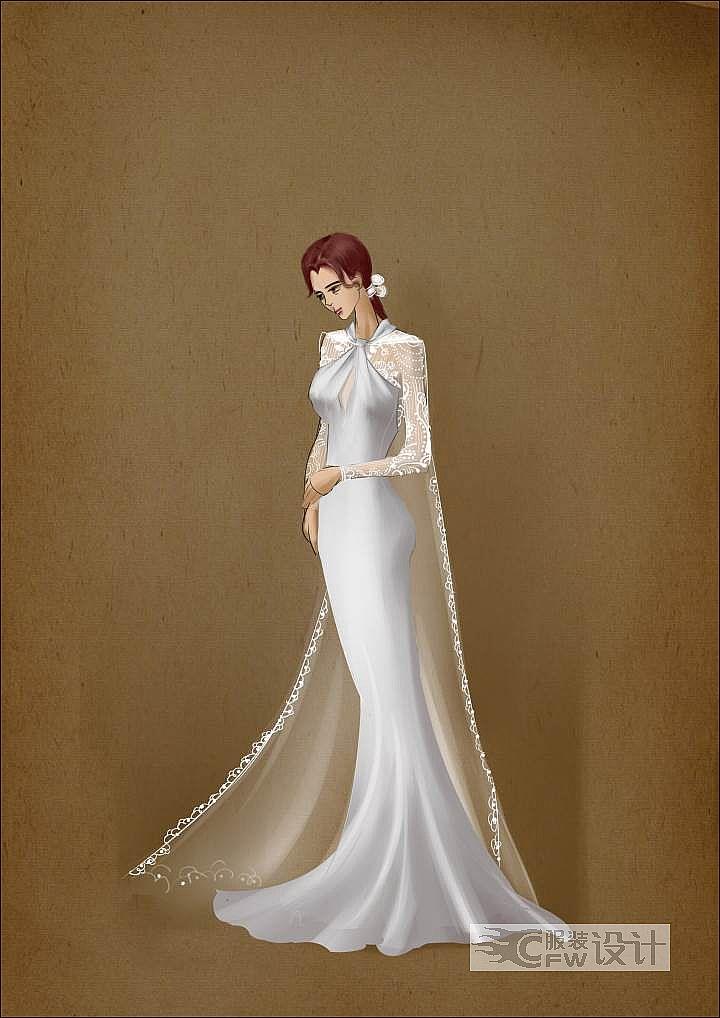 蕾丝边斗篷鱼尾婚纱作品-蕾丝边斗篷鱼尾婚纱款式图