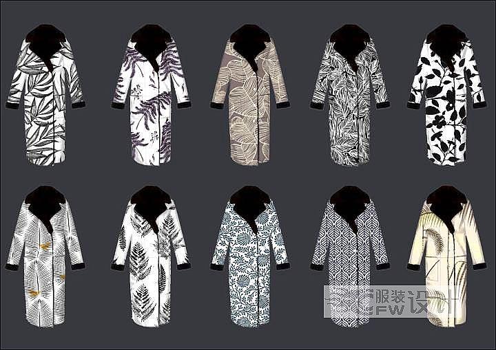 针织大衣提花系列作品-针织大衣提花系列款式图