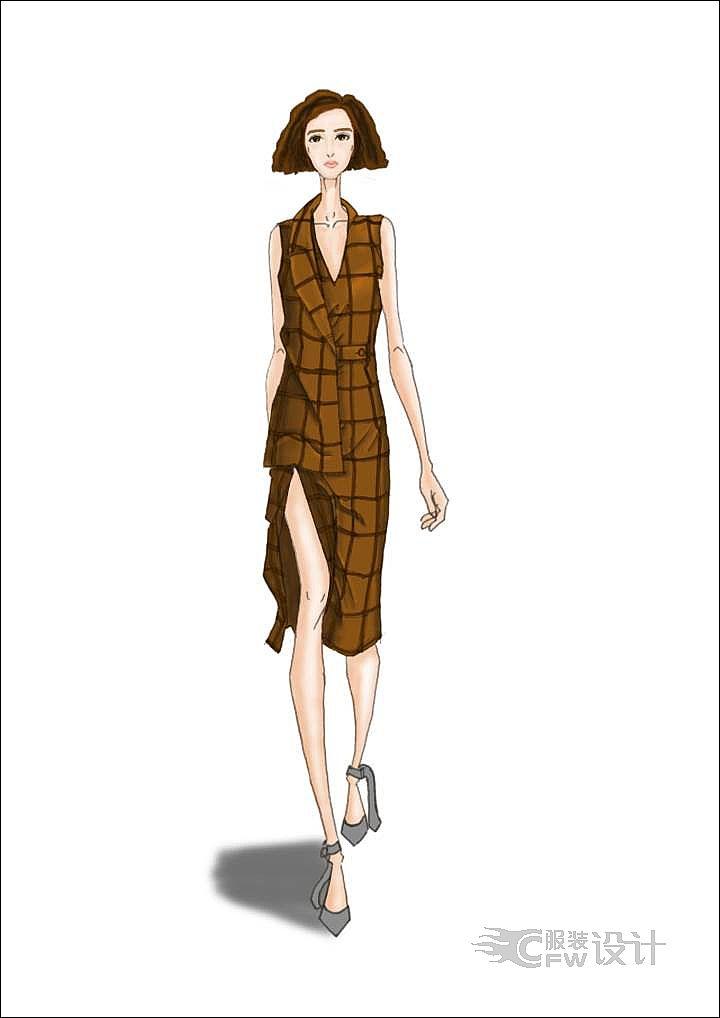 条纹裙子作品-条纹裙子款式图
