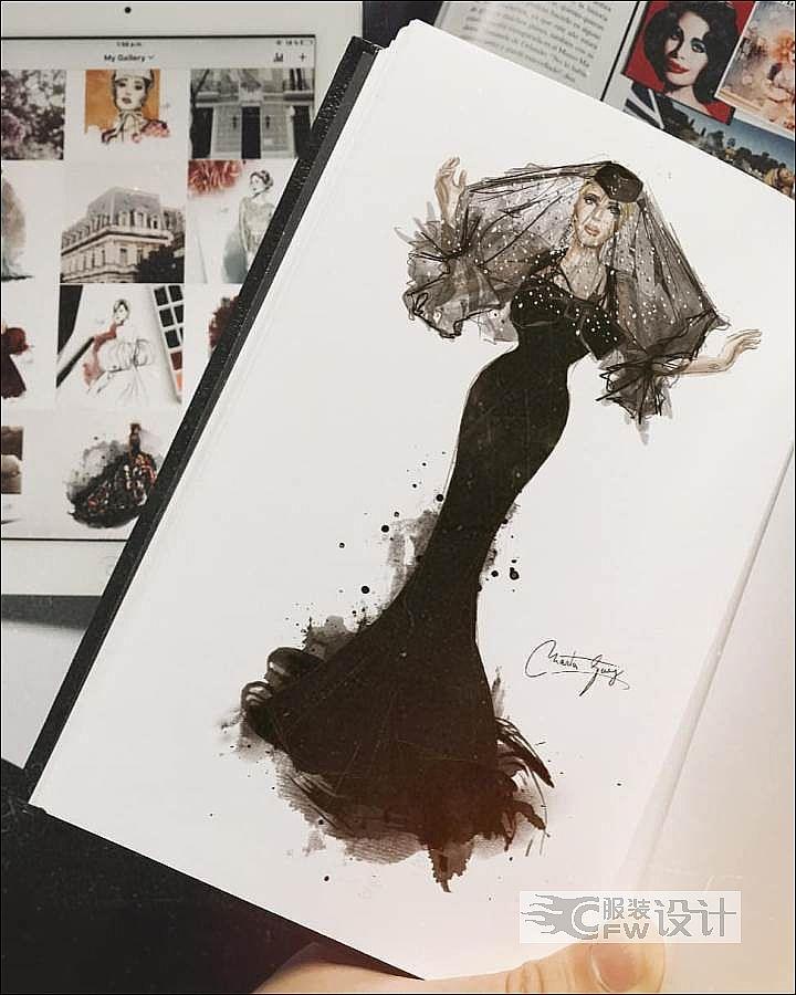 黑色婚纱礼服作品-黑色婚纱礼服款式图