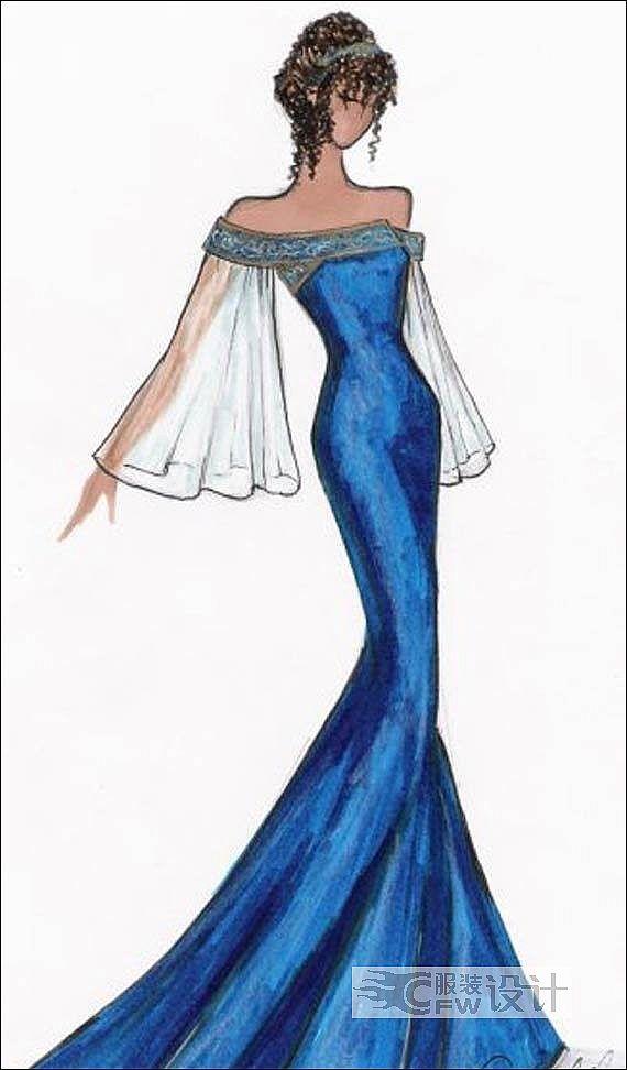 蓝色妖姬-礼服作品-蓝色妖姬-礼服款式图