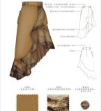 水墨棕印花灯芯绒半裙