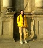 黄色羽绒fashion jeans
