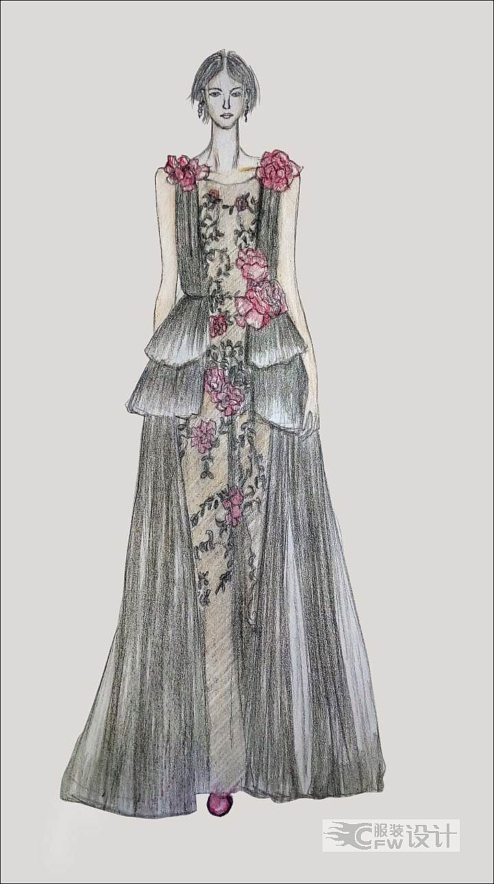 多褶连衣裙作品-多褶连衣裙款式图