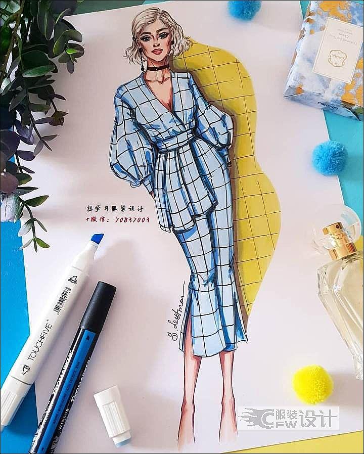 蓝色格纹休闲套装服装设计效果图作品-蓝色格纹休闲套装服装设计效果图款式图