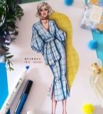 蓝色格纹休闲套装服装设计效果图
