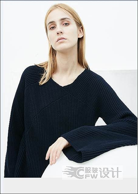 粗针喇叭袖原创毛衣作品-粗针喇叭袖原创毛衣款式图