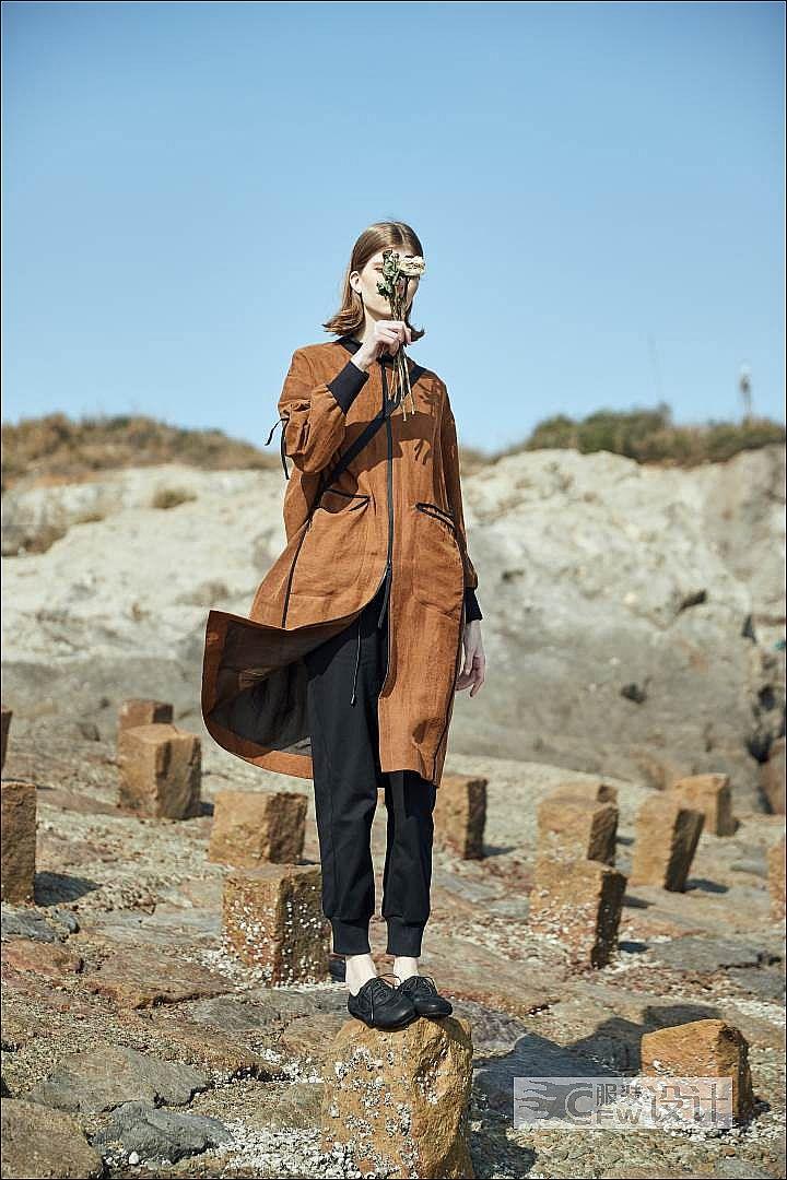 真丝香云纱轻运动风衣外套作品-真丝香云纱轻运动风衣外套款式图