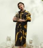 印花知性衬衫式连衣裙