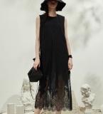 定位蕾丝下摆优雅小黑裙