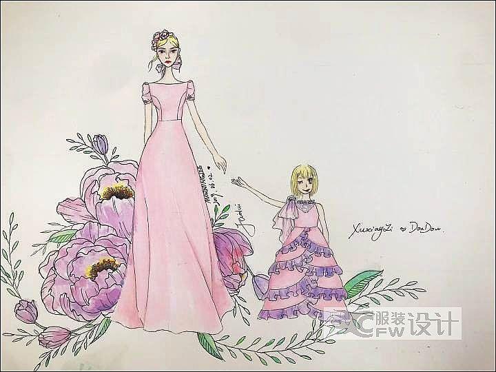 手稿-母女装作品-手稿-母女装款式图