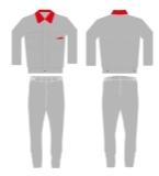 灰色配红色工作服款式设计图