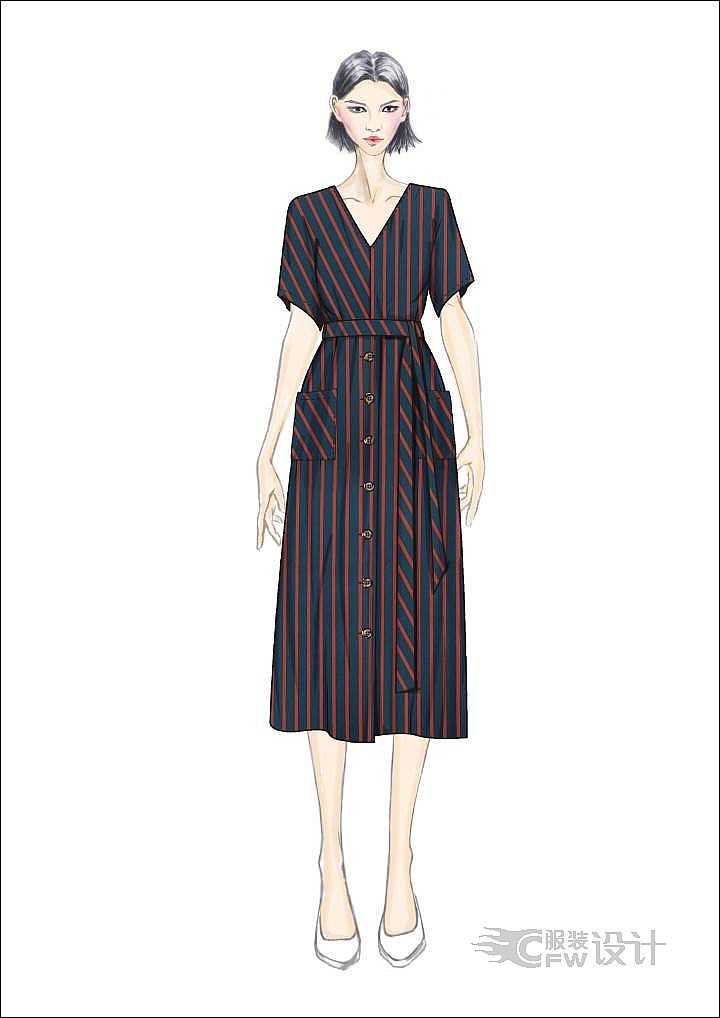 不规则条纹连衣裙作品-不规则条纹连衣裙款式图