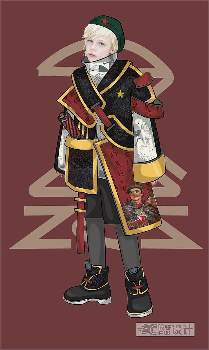 原创《红色小接班》童装系列作品-原创《红色小接班》童装系列款式图