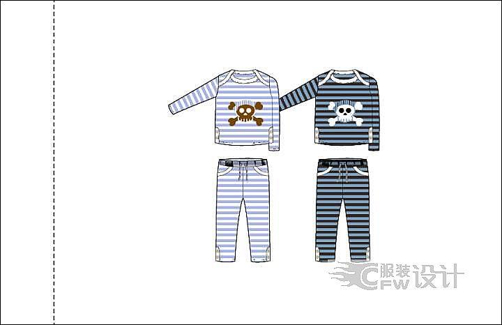 儿童内衣套装作品-儿童内衣套装款式图