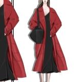 穿红外套的女人