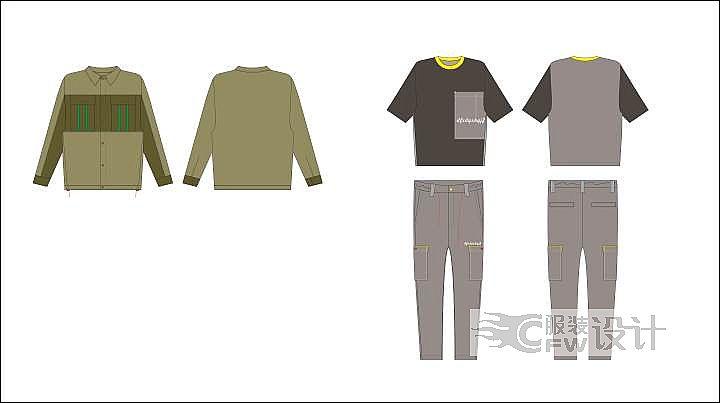 休闲衬衣,套装作品-休闲衬衣,套装款式图