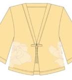 《七碗茶》茶染汉元素女士喇叭袖对襟开衫