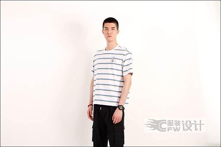 MOST漠士轻潮男装条纹纯棉T恤作品-MOST漠士轻潮男装条纹纯棉T恤款式图