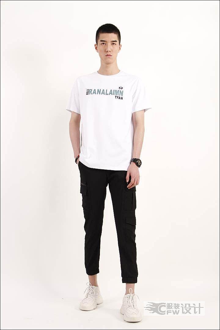 MOST漠士轻潮男装T恤+工装裤作品-MOST漠士轻潮男装T恤+工装裤款式图