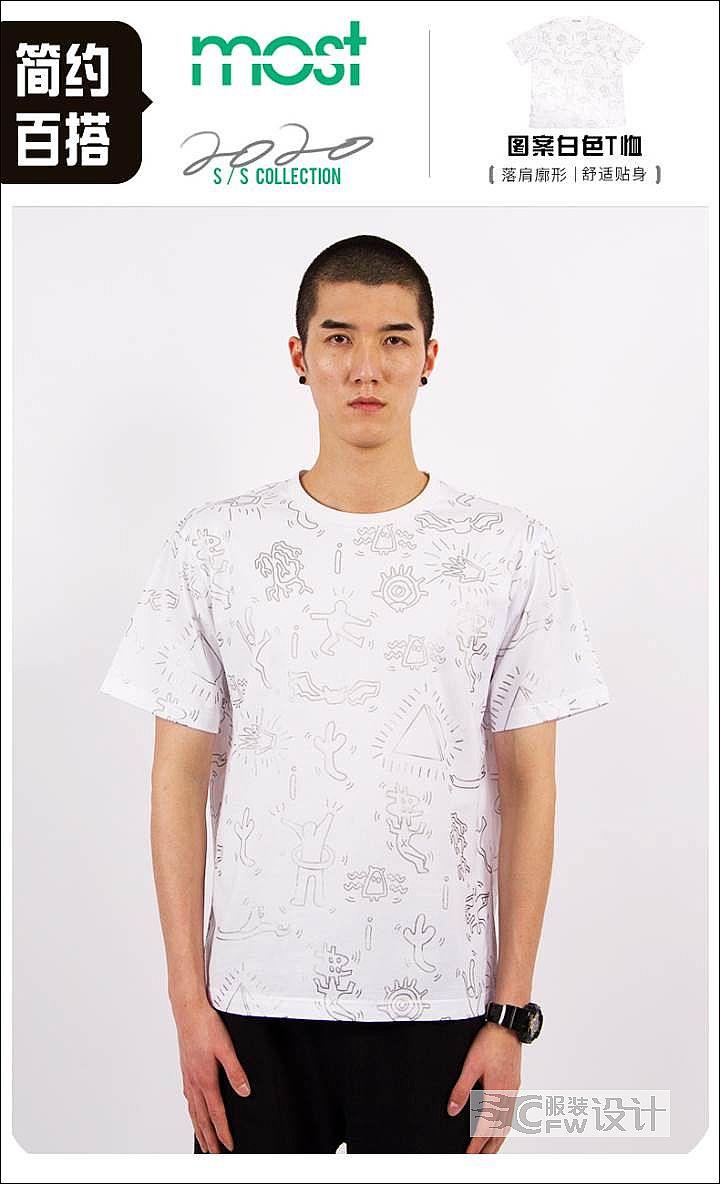 MOST漠士男装轻潮素描T恤作品-MOST漠士男装轻潮素描T恤款式图