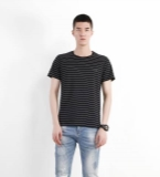 MOST jeans系列黑白条纹T恤