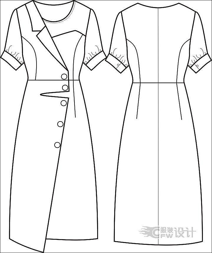 醋酸连衣裙作品-醋酸连衣裙款式图
