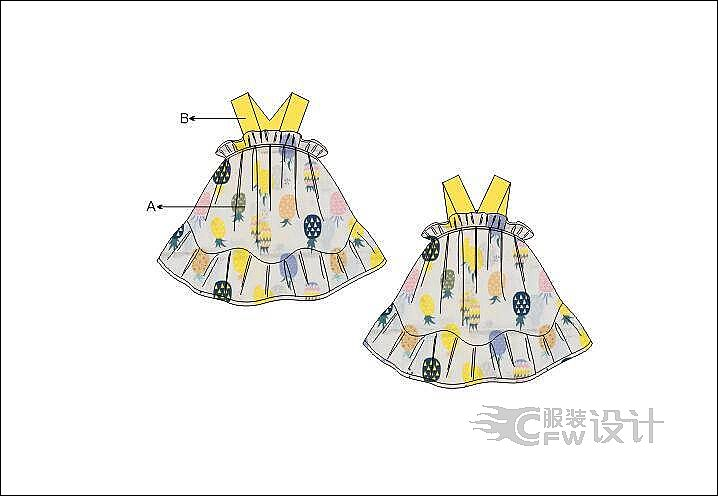 女小童吊带裙作品-女小童吊带裙款式图