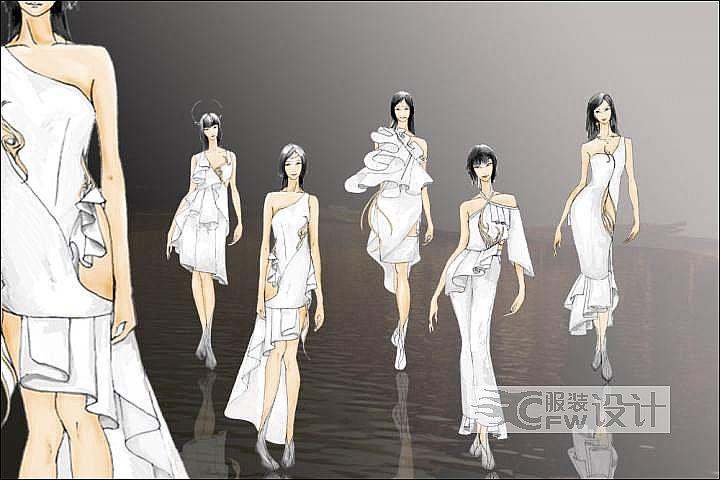 """系列女装礼服设计――""""藏�t""""作品-系列女装礼服设计――""""藏�t""""款式图"""
