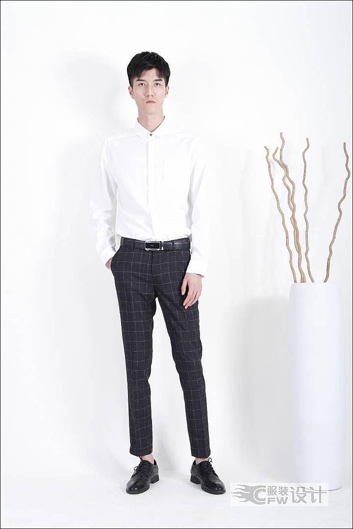 MOST漠士经典绅士白色男士衬衫作品-MOST漠士经典绅士白色男士衬衫款式图
