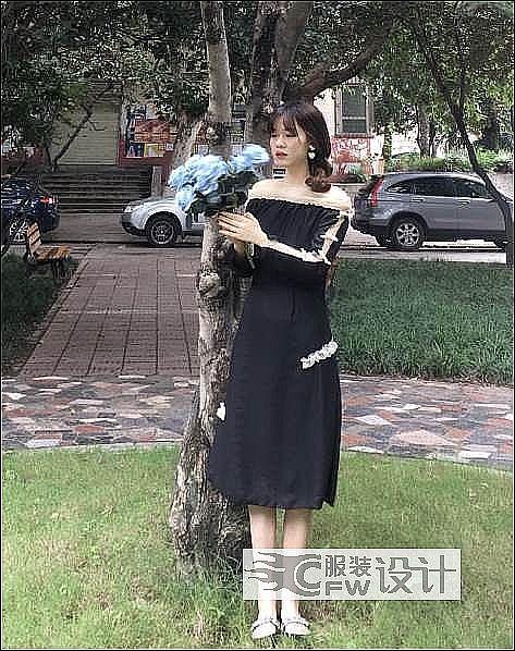 露肩黑色礼服裙作品-露肩黑色礼服裙款式图