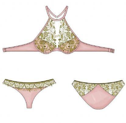 粉绿色撞色蕾丝内衣套装