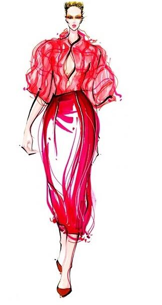 服装设计大赛 学习(时装画/手绘技巧)设计大赛    薄纱面料表现绘图步