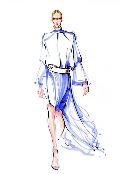 时装手绘-马克笔快速表现技法(薄纱面料表现)-服装