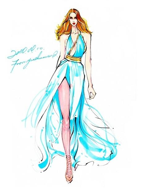 学习(时装画/手绘技巧)设计大赛    薄纱面料表现绘图步骤   1,铅笔