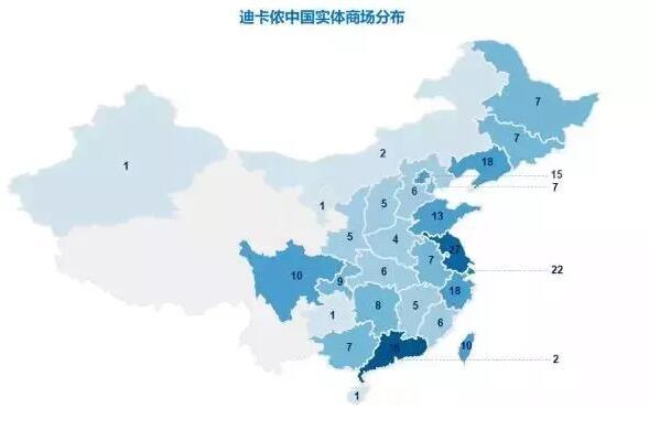 迪卡侬中国市场实体商场分布