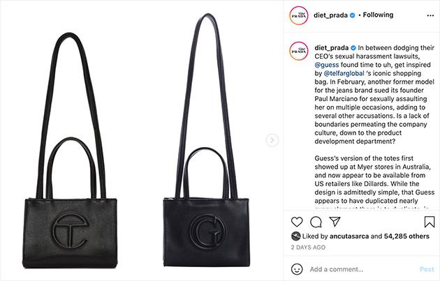 Guess被指疑抄袭Telfar经典款手袋 曾被Gucci起诉侵权